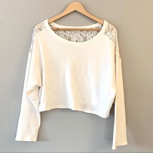 Hollister Cropped White Sweater